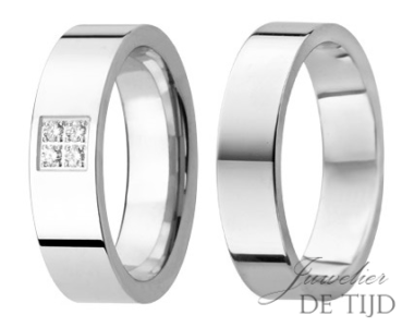 Wit gouden trouwringen met 4 briljant geslepen diamanten