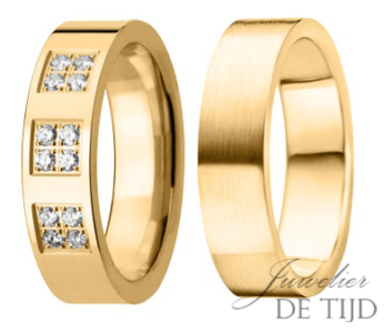 Geel gouden trouwringen, met 12 briljant geslepen diamanten