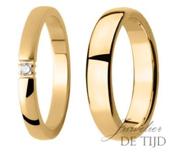 2,6mm & 5mm brede geel gouden trouwringen met briljant geslepen diamant