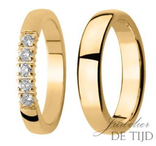 Geel gouden trouwringen met 5 briljant geslepen diamanten