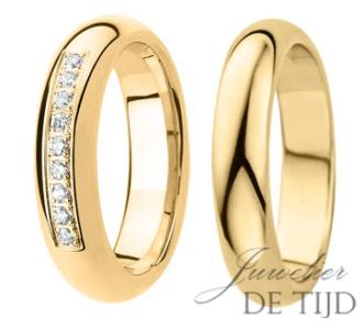 Geel gouden trouwringen 5mm breed met 9 briljant geslepen diamanten
