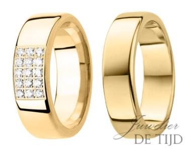 Geel gouden trouwringen 6,5mm breed met 15 briljanten