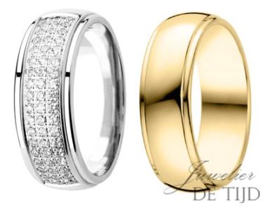 Gouden trouwringen 7mm breed, met 54 briljant geslepen diamanten