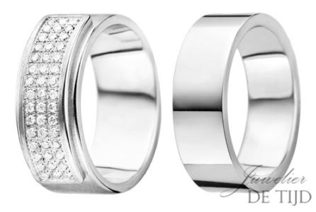 Wit gouden trouwringen 7,5 en 8mm breed, met 45 briljant geslepen diamanten