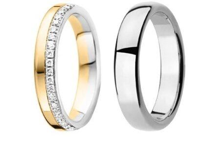 Bi-color geel met Wit gouden trouwringen 4 en 5mm breed met 45 briljant geslepen diamanten