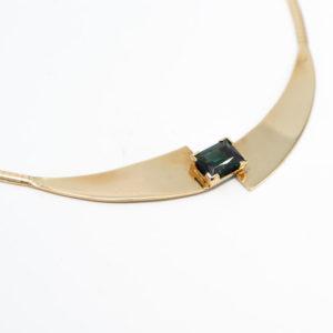 14 karaat geel gouden choker collier met groene steen