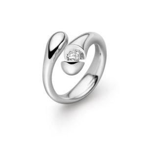 Design ring Calla hoogglans met één briljant geslepen diamant