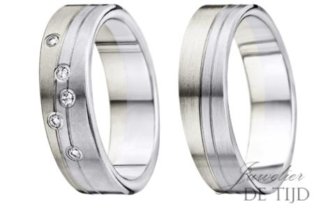 Palladium/wit gouden trouwringen 6mm breed, met 5 briljant geslepen diamanten