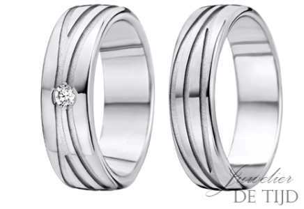 Palladium trouwringen 6mm breed, met 1 briljant geslepen diamant