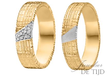 Gouden trouwringen 5,4mm breed, met briljant geslepen diamant