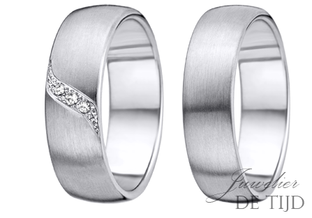 PalladiumTrouwringen 6mm breed, met 3 briljant geslepen diamanten