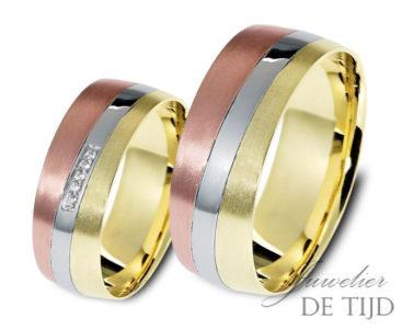Tri-color gouden trouwringen 7mm breed met 5 briljanten