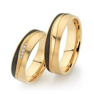 Abrikoos gouden met carbon trouwringen met 5 briljant geslepen diamanten