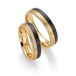 Abrikoos gouden met carbon trouwringen met 9 briljant geslepen diamanten