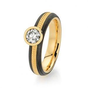 Abrikoos gouden met carbon verlovingsring met één briljant geslepen diamant