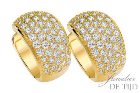 Geel gouden creolen Alena ® met briljant geslepen diamant