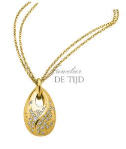 Geel gouden hanger Alessia ® ovaal met briljant sterrenhemel
