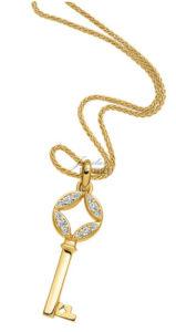Geel gouden hanger Alice ® in sleutel vorm met briljant