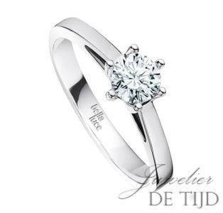 14 karaats wit gouden solitaire ring met 0,40crt briljant geslepen diamant