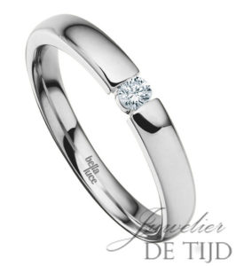 14 karaats wit gouden spanring met brug met 0,10ct briljant geslepen diamant