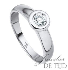 Wit gouden solitaire aanschuifring met briljant geslepen diamant