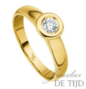 14 karaats geel gouden solitaire aanschuifring met briljant geslepen diamant