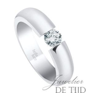 14 karaats wit gouden spanring met 0,25ct briljant geslepen diamant