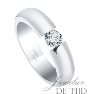 14 karaats wit gouden spanring met brug met 0,25ct briljant geslepen diamant