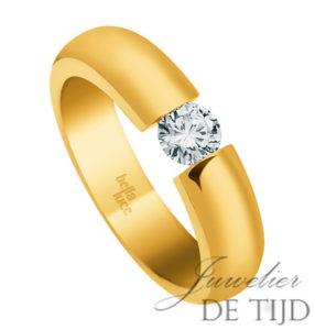 14 karaats geel gouden spanring met 0,40ct briljant geslepen diamant