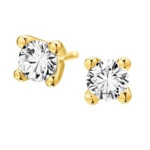 14 karaats geel gouden diamant oorknoppen