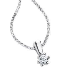 Wit gouden colitaire diamant hanger met collier