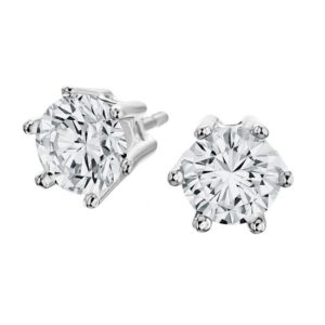 14 karaats wit gouden diamant oorknoppen