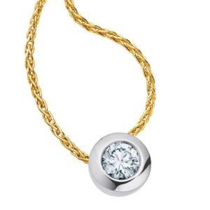 14 karaats Bi-color geel/wit gouden colitaire hanger met collier