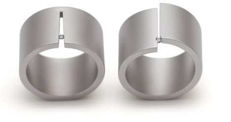 Edelstalen Niessing Design ring met briljant Cut02