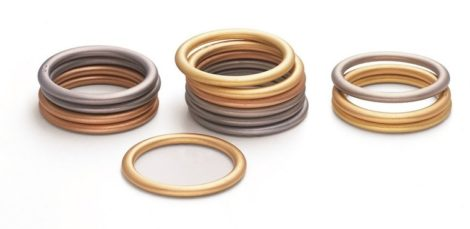 Gouden of platina aanschuifringen hoogovaal Farbringe