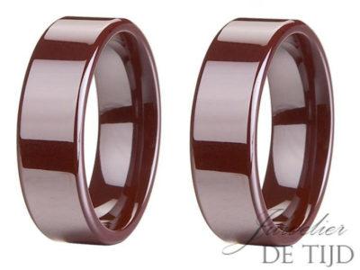 Wolfraam rode keramiek trouwringen 8mm breed