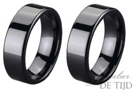 Wolfraam zwarte keramiek trouwringen 8mm breed