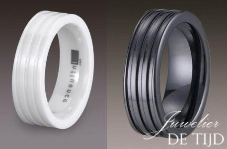 Wolfraam keramiek trouwringen zwart & wit 8mm breed