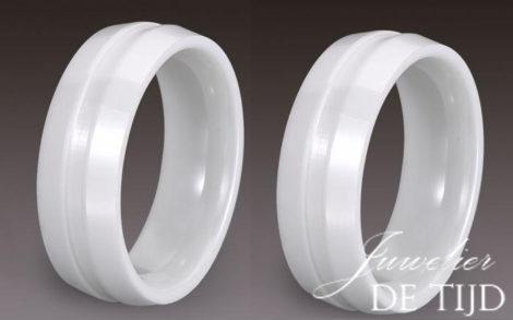 Wolfraam keramiek trouwringen wit 8mm breed