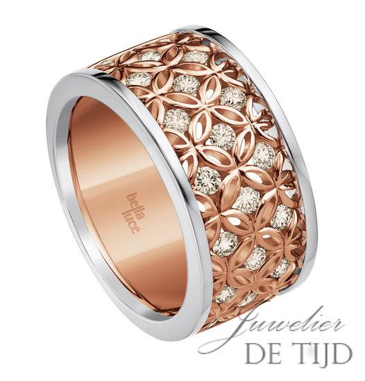 14 karaatsBi-color rosé wit gouden design bandring Beatrice