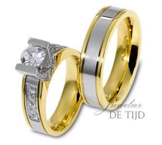 Bi-color geel/wit gouden trouwringen 5mm breed met één briljant