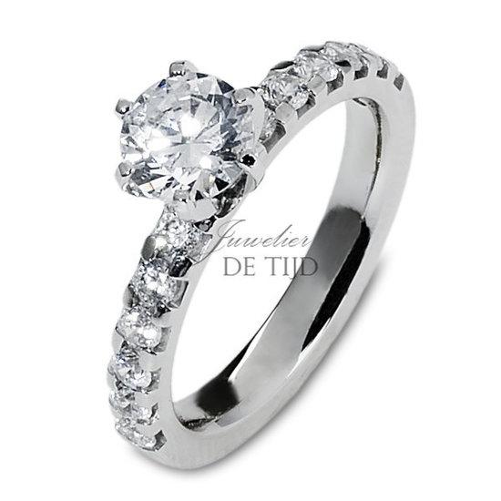 1,01 ct briljant ring, 14 karaats wit goud
