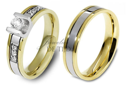 Bi-color geel/wit gouden ringen 5mm breed met briljanten