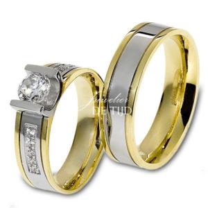Bi-color geel/wit gouden trouwringen 5mm breed met briljanten