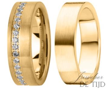 Geel gouden trouwringen 6mm breed, met 16 briljanten