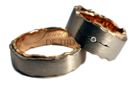 Bi-color rosé/wit gouden Blended trouwringen met briljant geslepen diamant