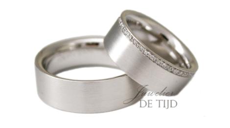 14 karaats wit gouden trouwringen 6mm breed met briljant geslepen diamanten