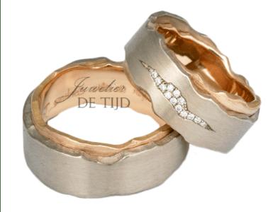Rosé/witBi-color gouden Blended trouwringen met briljant geslepen diamanten