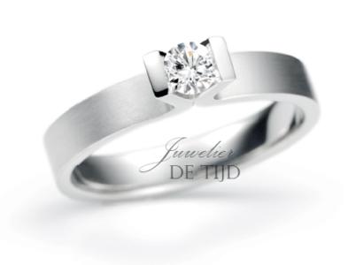 Primavera Rechteck verlovingsring met briljant geslepen diamant