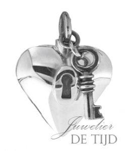 Zilveren as hanger hart met sleutel